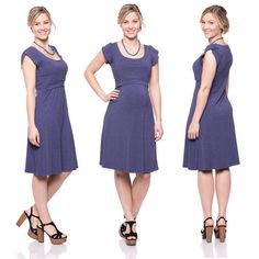 Viva la Mama | Nursing dress BELLA (jeans look). This breathtaking knee-length breast feeding dress charms everybody with its sweet cut. BELLA is beautiful but also functional for discreet nursing. It can be varied for different occasions, from elegant to casual.