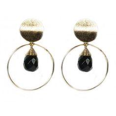 22-Karat Gold Plated Smoky Quartz Drop Hoop Earrings