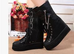110.90$  Watch here - http://ali7l7.worldwells.pw/go.php?t=2024793705 - 33 34 35 36 37 38 39 In Season Hot Sale Women Mid-Calf Fashion Boots Girl Height Increasing Internal Pumps Genuine Leather Small 110.90$