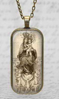 Madonna Virgin Mary Child Jesus Sepia Glass Tile Pendant
