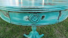 Rustic Shabby Drum Table, Florence over white, Emperor's Silk stenciling.
