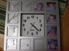 baby's 1st year clock! without batteries, keep the clock set to the time your baby was born. place a picture by each number to represent how many months your child was in that picture. our son was born at 4:23 a.m. and was 5 months old when this pic was taken.