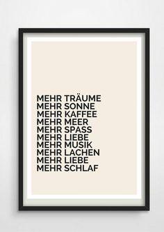 Minimales Typo Poster mit deutschem Spruch / fine artprint with lettering made by Pap-Seligkeiten via DaWanda.com