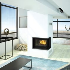 Contemporary meets classic with the Seguin Europa 7 VL Cheminee Fireplace with corner glass sided viewing area, hand made on the South of France. House, Traditional Interior, Interior Spaces, Wood Fireplace, Fireplace Design, Home Warranty, Freestanding Fireplace, Modern Traditional, Fireplace