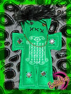 Protection and Obstacle Removing Voodoo Veve Poppet Dolls with embroidered Veve for Ogoun