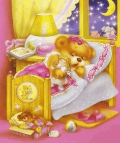 Good night sister and all, sweet dreams♥★♥. Teddy Bear Cartoon, Cute Teddy Bears, Cute Cartoon, Tatty Teddy, Illustration Noel, Illustrations, Photo Ours, Art D'ours, Teddy Bear Pictures