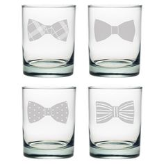 4-Piece Bowtie Double Old Fashioned Glass Set (Set of 4)