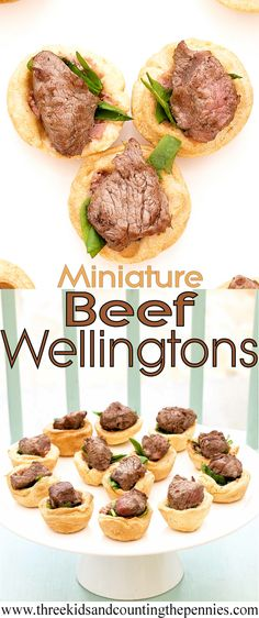 Miniature Beef Wellingtons with Spinach and Pâté Fillings « with farmhouse pork & mushroom pâté Served hot or cold, these mini beef wellingtons are going to be the first thing on my festive buffet tables. Wine Recipes, Food Network Recipes, Beef Recipes, Cooking Recipes, Finger Food Appetizers, Appetizer Recipes, Snack Recipes, Tapas, Pork Mushroom