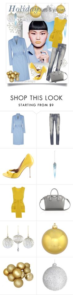 """Holiday blues & yellows"" by salexanderdesigns ❤ liked on Polyvore featuring Oscar de la Renta, Denham, Pedro García, Bloomingdale's, Whistles, Givenchy, Winter, holiday, blueandyellow and BlueandGold"