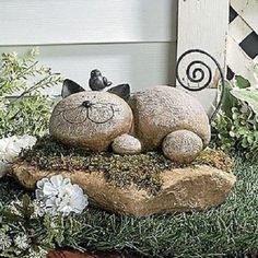 """Unique+Stone-look+Cat+Yard+Statue+with+Bird+9""""L+~NEW~"""