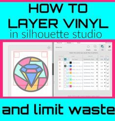 """Tips for layering vinyl with Silhouette so you don't waste as much vinyl. Plus the best Silhouette Studio cut settings for """"stained glass"""" vinyl also known as Oracal permanent transparent vinyl. Silhouette Cameo Tutorials, Silhouette School Blog, Silhouette Cameo Vinyl, Silhouette Curio, Silhouette Portrait, Silhouette Machine, Silhouette Projects, Silhouette Design, Silhouette Files"""
