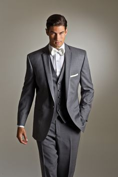 SAVVI - Style Grey Kristoff by Savvi Black Label, Luxury wool 1 button Grey Matching vest and diamond white Dot bow tie.