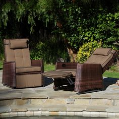 These outdoor recliner chairs are perfect for enjoying the sun out on the dock or in your backyard. Set these two brown wicker chairs on your patio for comfortable relaxation in the great outdoors.
