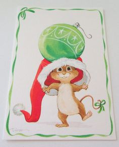 Unused Christmas Card Cute Mouse in Santa Hat w Ornament on His Head Hallmark   Collectibles, Paper, Vintage Greeting Cards   eBay!