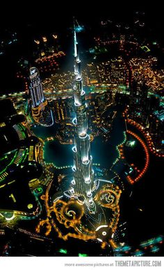 Tallest building in the world, from a helicopter, at night…