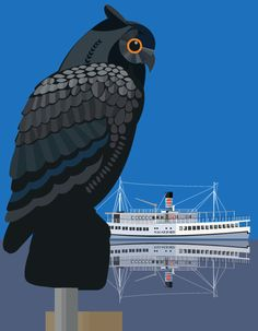"Roskilde Havn - The Harbour Owl and the M/S Sagafjord - illustrated by #Sivellink ""An Icon a Day"""