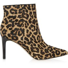 Sam Edelman Karen leopard-print calf hair ankle boots ($100) ❤ liked on Polyvore featuring shoes, boots, ankle booties, leopard print, leopard booties, leopard boots, high heel ankle booties, short boots and bootie boots