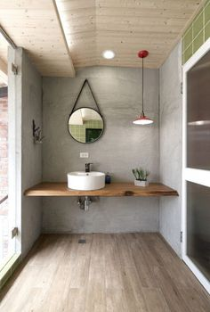 modern industrial bathroom with Live Edge floating vanity