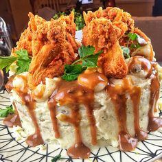 Fried chicken, mashed potatoes, cornbread and gravy cake!