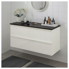 IKEA - GODMORGON / TOLKEN Bathroom vanity high gloss white, anthracite