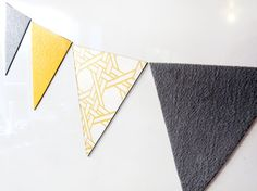 mini bunting fridge magnets  7 yellow and by tinchDesignStudio, $16.00