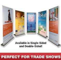 """Draw attention to your booth or display at the next event with this 34"""" x 80"""" single-sided retractable banner! This self-containing, self-rolling sign is made of polyester and is perfect for tradeshows, job fairs and any other indoor event. It comes with a custom carry bag and a full-color customized imprint of your brand logo, information and so much more. Be sure to catch the eye of passersby with this must-have promotional tool!"""