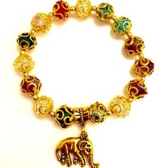 Crystal Multi-Color Elephant Charm Bracelet Crystal Multi-Color Elephant Charm Bracelet. The elephant is a symbol for good luck and warding off evil energy. Brand New Handmade Jewelry Bracelets