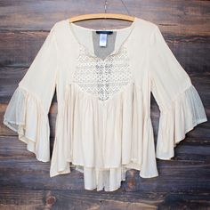 dreamy lace up peasant top neutral