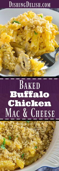 Baked Buffalo Chicken Mac and Cheese takes a traditional dish and adds a kick of spice to it. Gluten free pasta with creamy homemade cheddar and Parmesan cheese sauce, mixed with spicy buffalo chicken. Best of all, it's easy to make! It's also the perfect recipe for using up leftover rotisserie chicken.