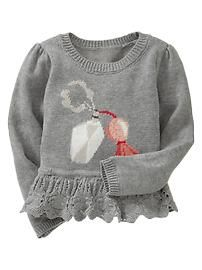 Pointelle intarsia sweater