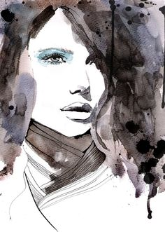 watercolor portrait with minimal color