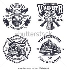 Set of firefighter emblems, labels, badges and logos on light background. Monochrome style. - stock vector