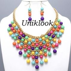 Waterfall Solid Bold Color Beads Pearl Gold Bib Necklace Set FASHION JEWELRY $24.99
