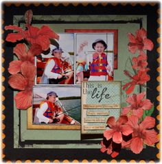 KaiserCraft Tropicana layout by Samantha Hauzer Holiday Photos, Holiday Fun, Paper News, General Crafts, Craft Items, Hello Everyone, Scrapbooking Layouts, Embellishments, Flowers