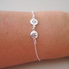 Silver Initial & Paw Charm Bracelet  Pet by tangerinejewelryshop
