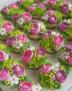 They're cupcakes people! Tag a cupcake lover… Cake Decorating Techniques, Cake Decorating Tips, Cookie Decorating, Cupcakes Flores, Flower Cupcakes, Strawberry Cupcakes, Easter Cupcakes, Christmas Cupcakes, Valentine Cupcakes