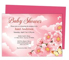 Baby Shower Invitations Templates: Butterfly Kisses Shower Template. Edit yourself with Word, Publisher, Apple iWork Pages