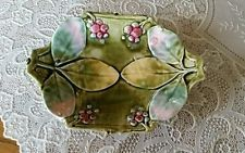 "Antique Very Old Majolica Butter Pat Olive Leaf? Olive Berries 6.25""×4.25""×1.25"""