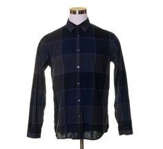 GAP Black Dark Gray Square Pane Plaid Button Dress Shirt SLIM FIT L #Gap #ButtonFront