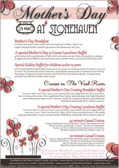 Mother's day at Stonehaven right on the banks of the Vaal River in Gauteng Mothers Day Breakfast, Breakfast Buffet, Fun Things, Banks, Restaurant, Treats, River, Desserts, Sweet Like Candy