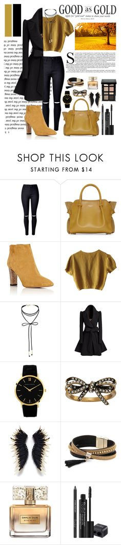 """""""Good as Gold"""" by catarinaferreira-cf ❤ liked on Polyvore featuring Nina Ricci, Acne Studios, Schumacher, Miss Selfridge, Marc Jacobs, Simons, Givenchy, Rodial and Bobbi Brown Cosmetics"""