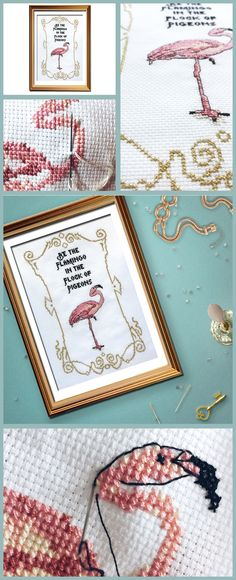 Just loving the gorgeous pinks and gold in this funny cross stitch pattern, flamingos are so cool