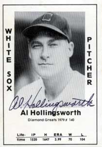 """Al Hollingsworth was born on Tuesday, February 25, 1908, in St. Louis, Missouri. Hollingsworth was 27 years old when he broke into the big leagues on April 16, 1935, with the Cincinnati Reds. His biographical data, year-by-year hitting stats, fielding stats, pitching stats (where applicable), career totals, uniform numbers, salary data and miscellaneous items-of-interest are presented by Baseball Almanac on this comprehensive Al Hollingsworth baseball stats page."""