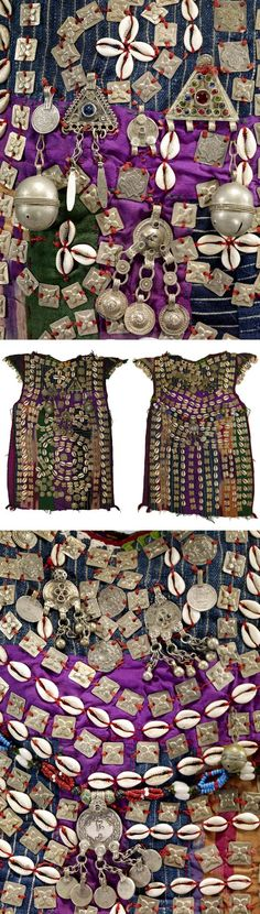 Turkmenistan | Details from a child's dress; silk ikat, cotton fabric, cowrie shells, silver ornaments and beads | ca. 1st half of the 20th century // ©Quai Branly Museum. 70.2012.5.3
