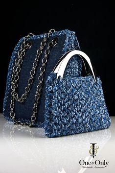 One & Only: οι χειροποίητες τσάντες με βελονάκι! - More Trends Crochet Handbags, Crochet Purses, Crochet Bags, Tote Backpack, Tote Bag, Denim Handbags, Knitted Bags, Looks Style, Handmade Bags