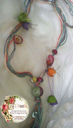 necklace with silk cocoons