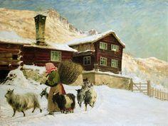 Gustav Wentzel (Norwegian, Winter Landscape in Vågå, 1914 OIl on canvas Edvard Munch, Vintage Artwork, Vintage Images, A4 Poster, Poster Prints, Nordic Lights, Vagas, Winter Art, Winter Landscape