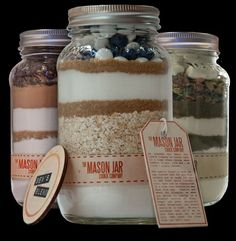 "Great use for ""gifts in a jar""...dry soup mixes, dry cookie ingredients, etc."