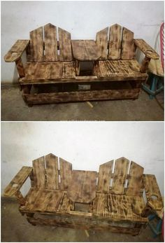 This is an interesting and yet simple bench design for you which you can beautifully make it place either indoor or outdoor. It is appearing to be much stand out brilliantly and in attractive way with the infusion taste of the wood pallet in it. Wood Pallet Bar, Pallet Door, Wood Pallet Planters, Wood Pallet Recycling, Wood Pallet Furniture, Simple Furniture, Wood Pallets, Pallet Bench, Recycling Ideas