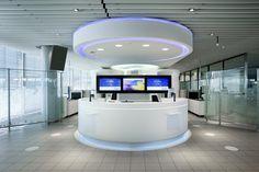 Beautiful futuristic interior design with circle set of the front  - Futuristic design